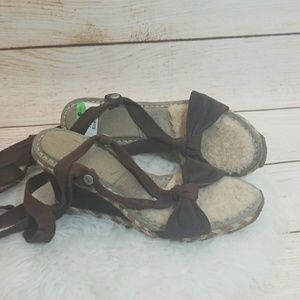 NWT UGG sheep skin ankle wrap strappy wedge sz 7